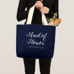 Elegant Navy Blue White Calligraphy Maid of Honor Large Tote Bag