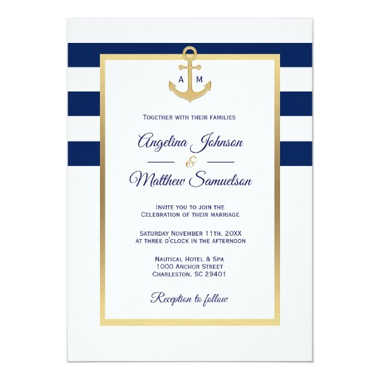 Nautical Wedding Invitations.Elegant Navy Blue White Gold Nautical Wedding Invitation