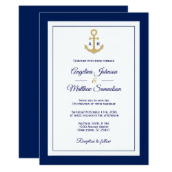 Elegant Navy Blue White Gold Nautical Wedding Invitation