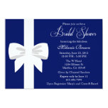 Elegant Navy Blue White Ribbon Bridal Shower Card