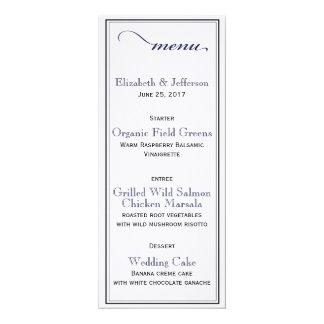 Elegant Navy Blue & White Script Wedding Menu Card