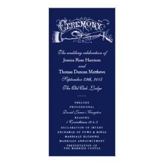 Elegant Navy Blue & White Wedding Ceremony Program