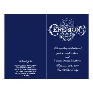 Elegant Navy Blue & White Wedding Ceremony Program Flyer