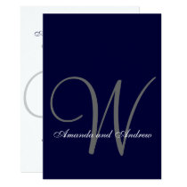 Elegant Navy Blue White Wedding Invitation Initial