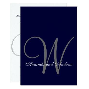 monogramgallery Elegant Navy Blue White Wedding Invitation Initial