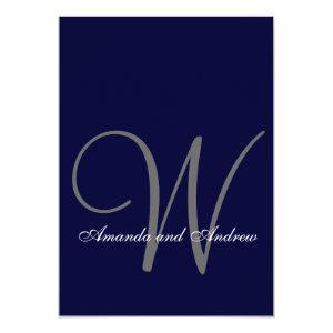 Elegant Navy Blue White Wedding Invitation Initial 5