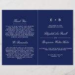 """Elegant Navy Blue & White Wedding Program Template<br><div class=""""desc"""">Elegant Navy Blue & White Wedding Program Template.</div>"""