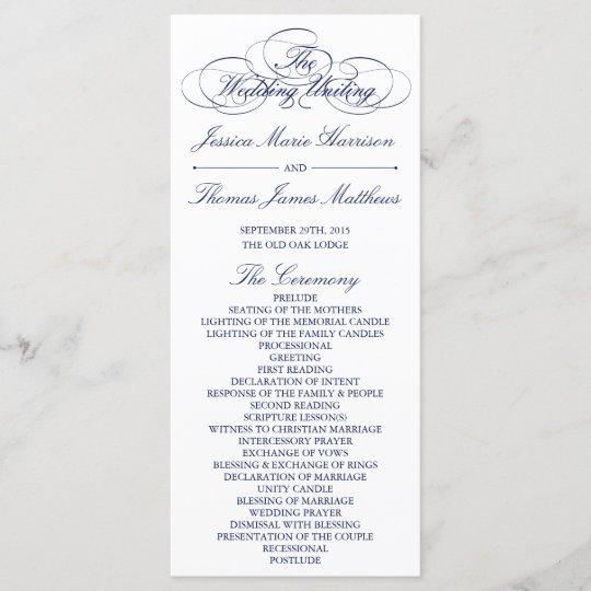 elegant navy blue white wedding program template