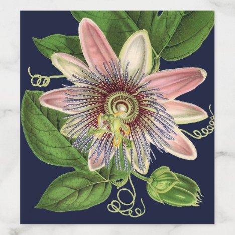 Elegant Navy Botanical Passion Flower Wedding Envelope Liner