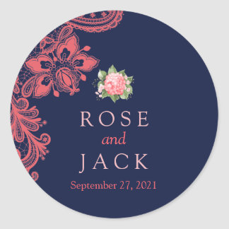 Elegant Navy & Coral Lace Wedding Wedding Stickers