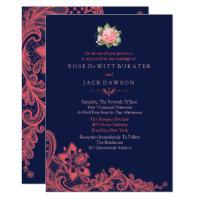 Elegant Navy & Coral Wedding Invitations