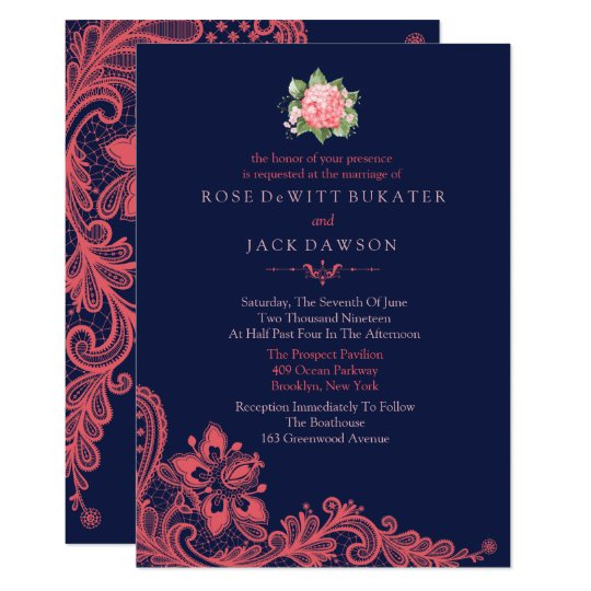 Coral And White Wedding Invitations: Elegant Navy & Coral Wedding Invitations