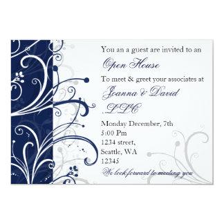 "elegant navy Corporate party Invitation 5"" X 7"" Invitation Card"