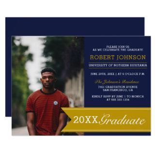 Elegant Navy & Gold Banner Photo Graduation Party Card
