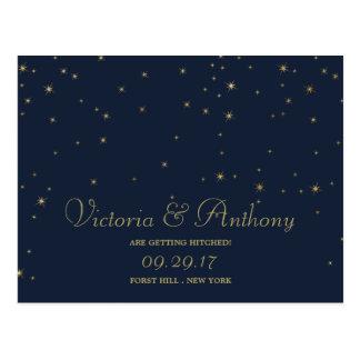Elegant Navy & Gold Falling Stars Save The Date Postcard