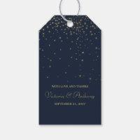 Elegant Navy & Gold Falling Stars Wedding Favor Gift Tags