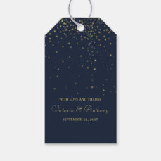 Elegant Navy & Gold Falling Stars Wedding Favor Gift Tags