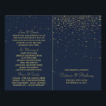 """Elegant Navy &amp; Gold Falling Stars Wedding Program<br><div class=""""desc"""">These bi-fold programs are perfect for any couple planning a romantic wedding celebration. The design features a stylish navy blue background with elegant gold falling stars and matching editable wording. The simple design can be personalized to suit your special event and will be the perfect order of service for any...</div>"""