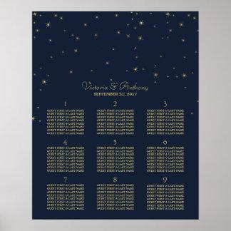 Elegant Navy & Gold Falling Stars Wedding Seating Poster