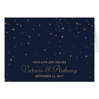 Elegant Navy & Gold Falling Stars Wedding Thanks Card