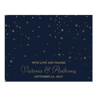 Elegant Navy & Gold Falling Stars Wedding Thanks Postcard