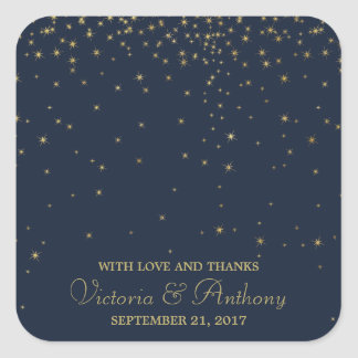 Elegant Navy & Gold Falling Stars Wedding Thanks Square Sticker