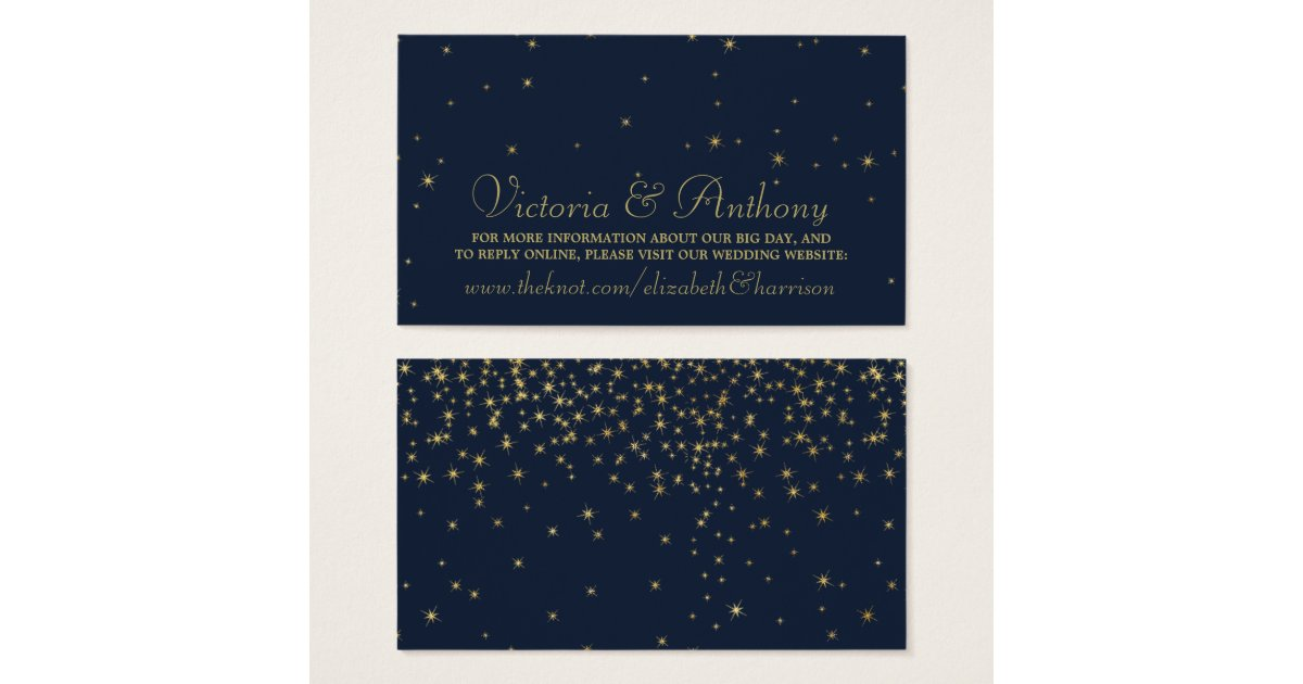 Elegant navy gold falling stars wedding website business card elegant navy gold falling stars wedding website business card zazzle colourmoves