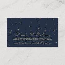 Elegant Navy & Gold Falling Stars Wedding Website Enclosure Card