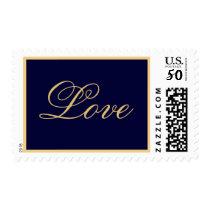 Elegant Navy Gold Love Postage Stamp