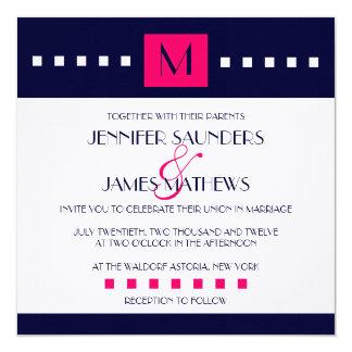 "Elegant Navy Hot Pink Monogram Wedding Invitation 5.25"" Square Invitation Card"
