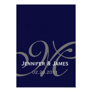 Elegant Navy Monogram Names Wedding Invitation