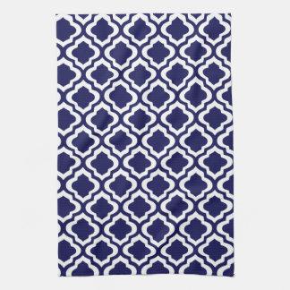 Elegant Navy Moroccan Trellis Quatrefoil Clover Hand Towel