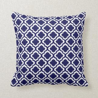 Elegant Navy Moroccan Trellis Quatrefoil Clover Pillows