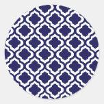 Elegant Navy Moroccan Trellis Quatrefoil Clover Sticker
