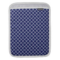 Elegant Navy Quatrefoil Pattern iPad Sleeve