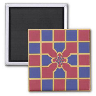 Elegant Navy Red Squares Sophisticated Gold Border Magnet
