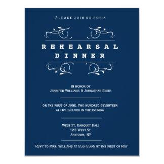 Elegant navy rehearsal dinner invitations