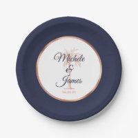 Elegant Navy Rose Gold Palm Tree Tropical Wedding Paper Plate