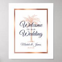 Elegant Navy Rose Gold Palm Tree Wedding Welcome Poster