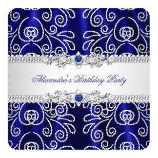 Elegant Navy Royal Blue Lace Diamond Overlay Party Card