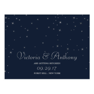 Elegant Navy & Silver Falling Stars Save The Date Postcard