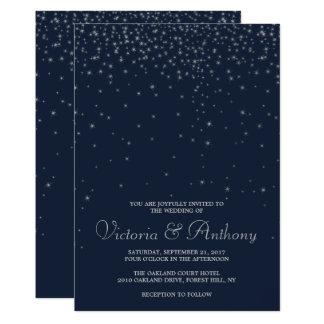 Elegant Navy & Silver Falling Stars Wedding Card