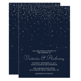 Elegant Navy & Silver Falling Stars Wedding Invitation
