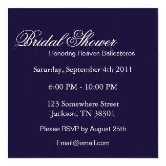 Elegant Navy Square Bridal Shower Invites