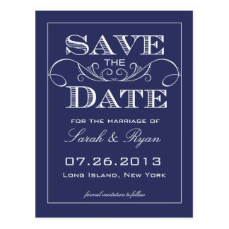 Elegant Navy Swirl Save the Date Announcement Post Card