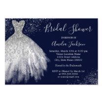 Elegant Navy Wedding Gown Bridal Shower Invitation