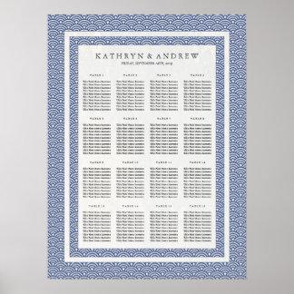 Elegant Navy+White Seigaiha Wedding Seating Chart Poster