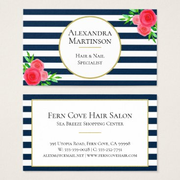 Professional Business Elegant Navy White Striped Coral Watercolor Floral Business Card