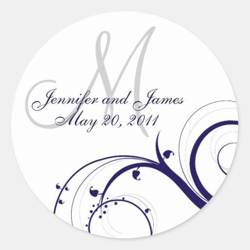 Elegant Navy White Swirl Monogram Wedding Seal Classic Round Sticker