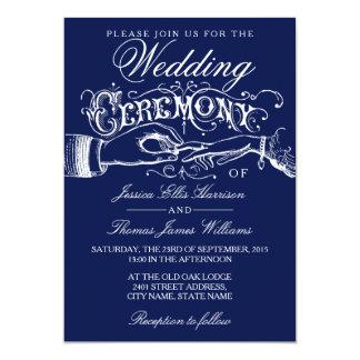 Elegant Navy & White Wedding Ceremony Invitations